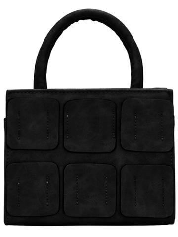 Romwe Black Zip Plaids Pu Tote Bag