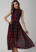 Romwe Sleeveless Plaid Ruffle Chiffon Dress