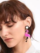 Romwe Rose Pink Flamingo Shaped Drop Earrings