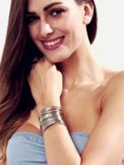 Romwe Silver Hollow Metal Cuff Bracelet
