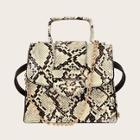 Romwe Snakeskin Satchel Chain Bag