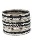 Romwe Rhinestone Plaited Detail Bracelet 11pcs