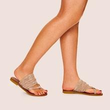 Romwe Criss Cross Plaited Flat Slippers
