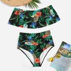 Romwe Removable Strap Tropical Flounce Bikini Set