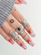 Romwe Carved Black Gem Ring Set