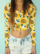 Romwe Long Sleeve Sunflower Print Crop Tee