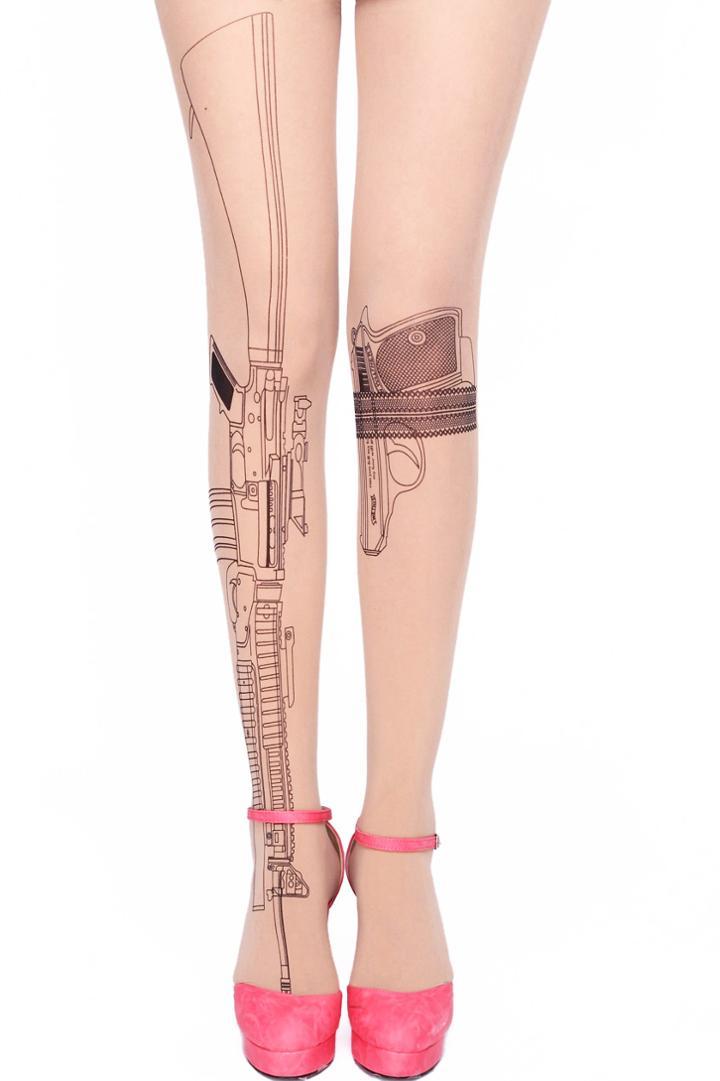 Romwe Gun Print Nude Tights