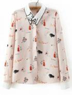 Romwe Apricot Embroidered Collar Cat Print Blouse