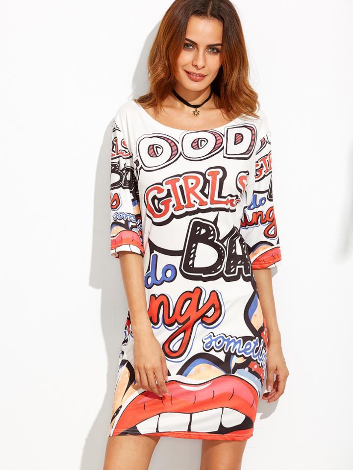 Romwe Letter Print Elbow Sleeve Tshirt Dress