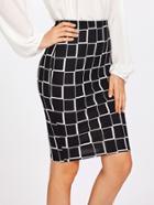 Romwe Square Print Pencil Skirt