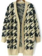 Romwe Houndstooth Fuzzy Beige Coat