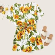 Romwe Plus Sunflower Print Surplice Front Self Tie Romper