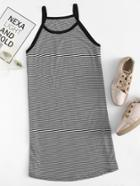 Romwe Striped Ringer Cami Dress