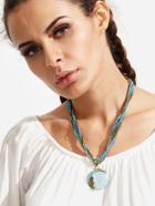 Romwe Vintage Gemstone Pendant Beads Necklace