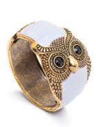 Romwe White Enamel Bronze Metal Retro Owl Wide Bangle