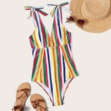 Romwe Random Striped Low Back Tie Shoulder One Piece Swimsuit