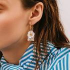 Romwe Floral Decor Gemstone Engraved Hoop Drop Earrings 1pair
