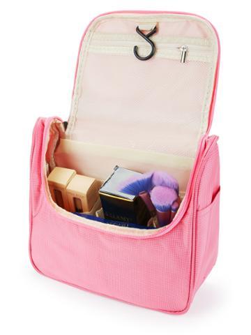 Romwe Double Zipper Grid Makeup Bag
