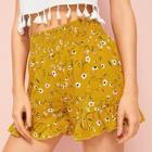 Romwe Ditsy Floral Ruffle Hem Shirred Shorts