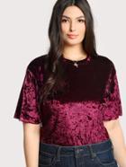 Romwe Solid Velvet T-shirt