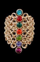 Romwe Multicolored Gemstone Gold Hollow Ring