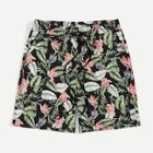 Romwe Guys Tropical Print Drawstring Waist Shorts