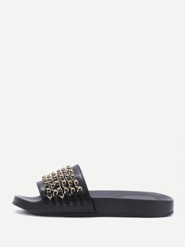 Romwe Black Pu Slippers With Gold Chain Detail