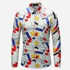 Romwe Guys Geometric Print Shirt