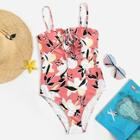 Romwe Random Floral Lace-up One Piece Swimsuit