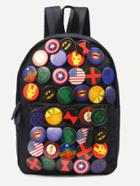 Romwe Black Pin Badge Embellished Nylon Backpack