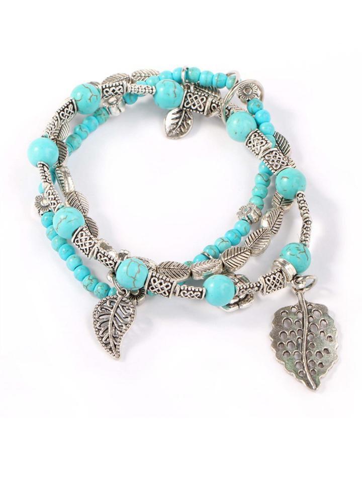 Romwe Layered Beaded Bracelet