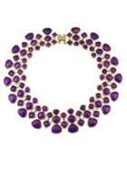 Romwe Purple Enamel Maxi Collar Choker Necklaces