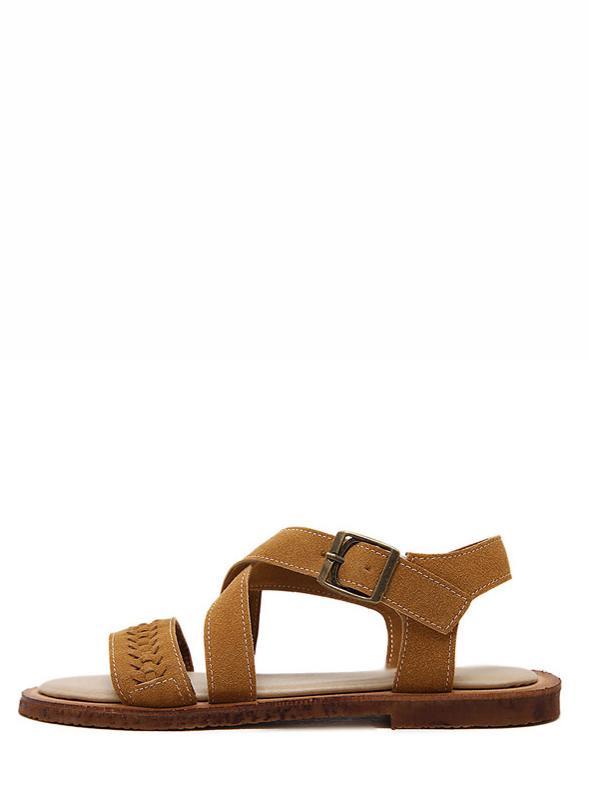 Romwe Brown Peep Toe Hollow Crisscross Sandals