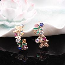 Romwe Butterfly & Rhinestone Design Stud Earrings