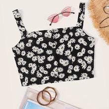 Romwe Daisy Floral Print Cami Top