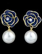 Romwe Blue Flower Pearl Gold Dangle Earrings