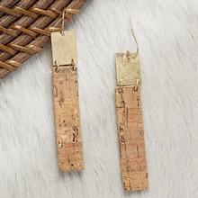 Romwe Gold And Cork Detail Rectangle Dangling Earrings