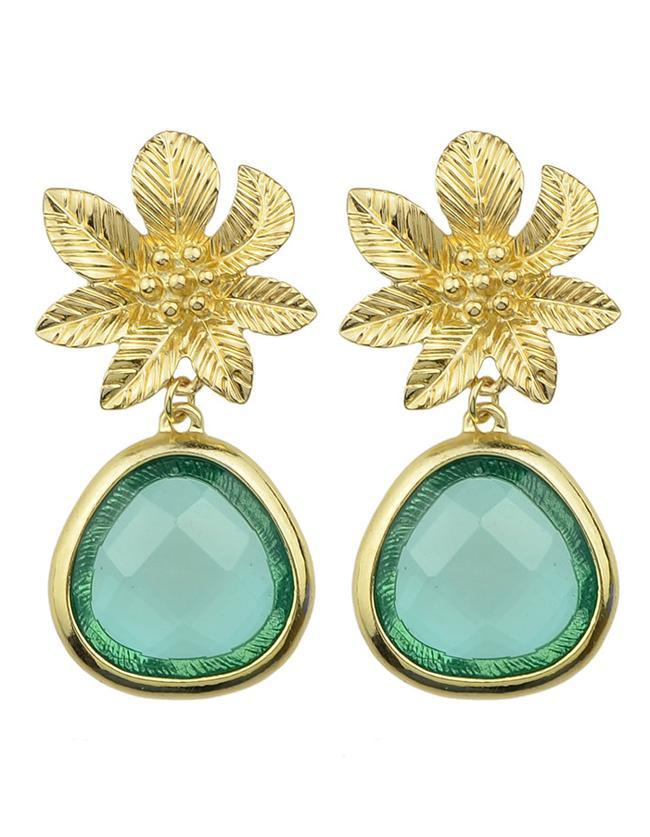 Romwe Green Flower Shape Drop Earrings