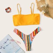 Romwe Cami Top With Rainbow Striped High Cut Bikini