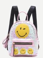 Romwe Pink Sequin Embellished Smiling Face Backpack