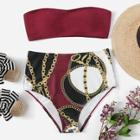 Romwe Bandeau With Random Chain Print High Waist Bikini
