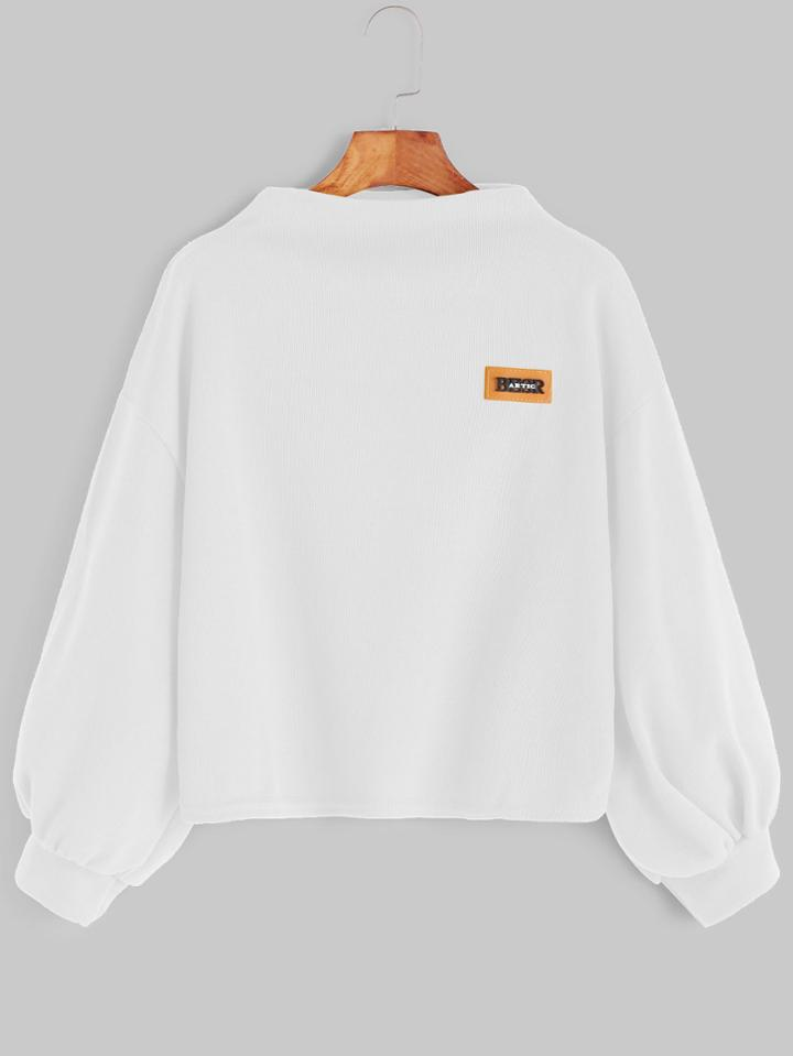 Romwe White Funnel Neck Drop Shoulder Lantern Sleeve Patch Sweatshirt