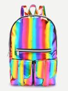 Romwe Iridescent Front Zipper And Pocket Backpack