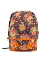 Romwe Romwe Floral Print Pu Panel Backpack