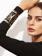 Romwe Gold Plated Hollow Out Wide Open Cuff