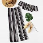 Romwe Off Shoulder Striped Crop Top With Pants