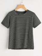 Romwe Short Sleeve Pinstripe Tshirt