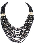 Romwe Black Bead Multilayer Necklace