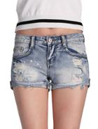 Romwe Cuffed Ripped Denim Shorts