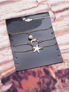 Romwe Star & Moon Chain Bracelet 3pcs
